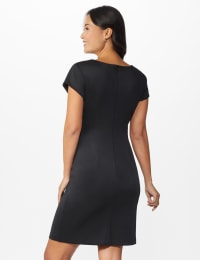 Houndstooth Sheath Dress - Black - Back