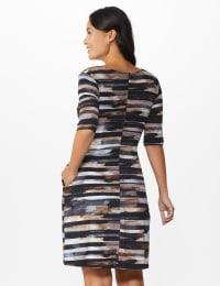 Brush Stroke Stripe Dress - Grey - Back
