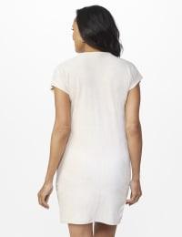 Patch Pocket Sheath Dress - Beige - Back