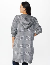 Roz & Ali Houndstooth Sweater Coat - Black/Grey - Back