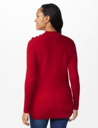 Roz & Ali Ottoman Mock Neck Hi-Lo Pullover Sweater - Spice Cake - Back
