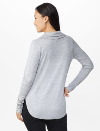 Westport Grommet Trim Pullover Sweater - Grey Heather - Back