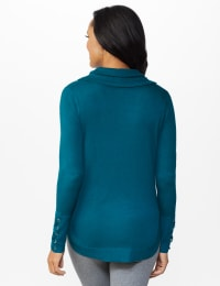 Westport Grommet Trim Pullover Sweater - Paradise Teal - Back