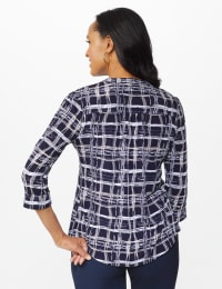 Roz & Ali Plaid Pintuck Knit Popover - Misses - Navy - Back