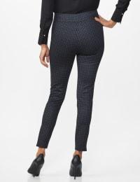 Ponte Pattern Pull on Slim Legging - Black check - Back