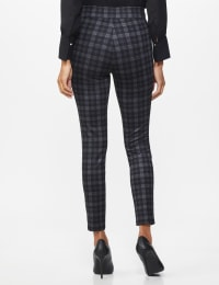 Ponte Pattern Pull on Slim Legging - Grey Plaid - Back