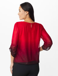 Roz & Ali Glitter Ombre Bubble Hem Blouse - Misses - Red/Black - Back