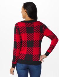 Roz & Ali Buffalo Plaid Pullover Sweater - Black/ Belldini Red - Back