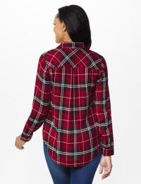 Red Rayon Plaid Shirt - Red - Back