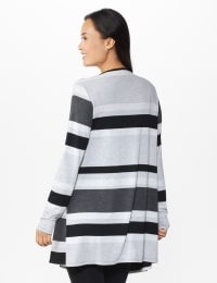 DB Sunday Hacci Sweater Knit Stripe Cardigan  - Misses - Multi - Back