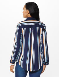 Westport Rayon Stripe Button Front Shirt - Misses - Blue - Back