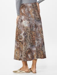 Roz & Ali Printed Hacci Aline Maxi Skirt - Brown/gold/black - Back