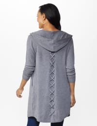 Roz & Ali Crisscross Back Sweater Duster - Misses - Heather Grey - Back