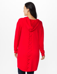 Roz & Ali Crisscross Back Sweater Duster - Misses - Red - Back