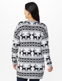 Westport Fair Isle Reindeer Duster Cardigan - Misses - Grey/White/Black - Back