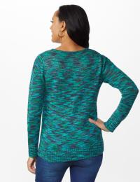 Westport Detachable Scarf Neck Pullover Sweater - Blue Multi - Back