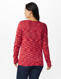 Westport Detachable Scarf Neck Pullover Sweater - Misses - Red Multi - Back