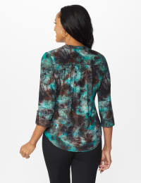 Jade Jaquard Tie Dye Popover with Studs - Petite - Jade/Black - Back