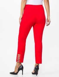 Roz & Ali Superstretch Pull On Ankle Pant with Heat Seal Band Trim - Misses - Firecracker - Back