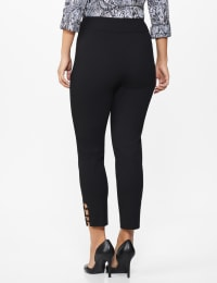 Roz & Ali Superstretch Pull On Ankle Pants with Rhinestone Ring Detail - Black - Back