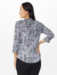 Roz & Ali Paisley Puff Pintuck Popover - Misses - Black/Grey/Pink - Back