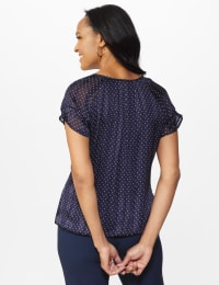 Roz & Ali Navy Dot Bubble Hem Blouse - Navy/White - Back