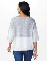 Colorblock Eyelash Pullover Sweater - Misses - Grey Combo - Back