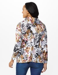Floral Sweater Knit Cowl Neck Top - Back