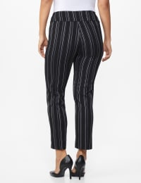 Pull on Stripe Millenium Ankle Pant - Misses - Black/Navy - Back