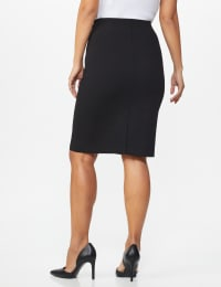 Pencil Skirt with Hardware Trims and Tab Detail - Misses - Black - Back