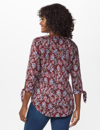 Westport Multi Color Floral Pintuck Popover - Misses - Burgundy - Back