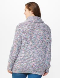 Roz & Ali Novelty Split Neck Pullover Sweater - Multi - Back