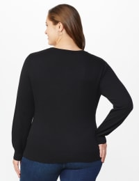 Roz & Ali Pearl Cardigan - Plus - Black - Back