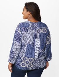 Westport Patchwork Wrap Blouse- Plus - Navy - Back
