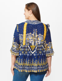 Westport Border Print Ruffle Sleeve Blouse -Plus - Navy - Back