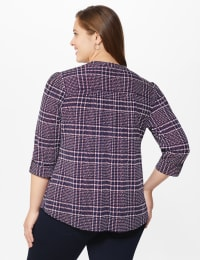 Roz & Ali Plaid Pintuck Knit Popover - Plus - NAVY-RED - Back