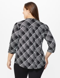 Roz & Ali Bias Plaid Pintuck Knit Popover - Black-White - Back