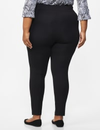 Ponte Pull on Legging with Seam Detail - Plus - Black - Back