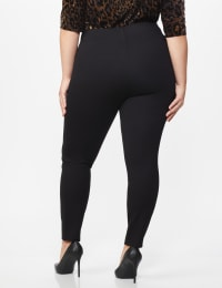 Ponte Pull on Legging with Faux Pockets and Rivet Trim  - Plus - Black - Back