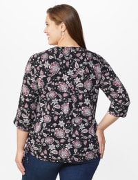 Roz & Ali Floral Side Tie Popover Blouse - Plus - Black/Mauve - Back