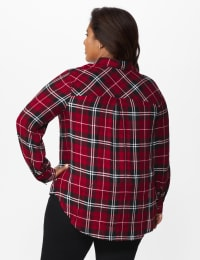 Red Rayon Plaid Shirt - Plus - Red - Back
