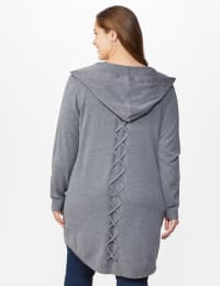 Roz & Ali Crisscross Back Sweater Duster - Plus - Heather Grey - Back