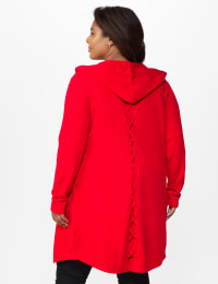 Roz & Ali Crisscross Back Sweater Duster - Plus - Red - Back