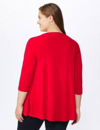 Roz & Ali Keyhole Fit & Flare Knit Top - Plus - Arresting Red - Back