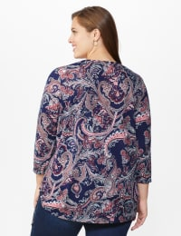 Dressbarn Paisley Hacci Cinched Knit Top - Plus - Navy - Back
