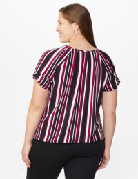 Roz & Ali Striped Bubble Hem Blouse - Plus - White/Khaki/Black - Back