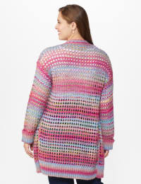 Westport Multi-Color Duster Cardigan  - Plus - Multi - Back
