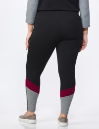 DB Sunday Colorblock Legging - Plus - Black/Burgundy - Back