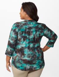 Roz & Ali Jade Jacquard Tie Dye Popover with Studs - Plus - Jade/Black - Back