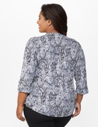 Roz & Ali Paisley Puff Pintuck Popover  - Plus - Black/Grey/Pink - Back